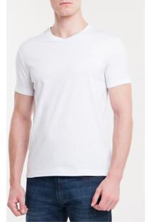 Camiseta Slim Flamê Gola V Calvin Klein - Branco 2 - P