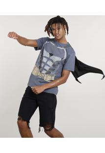 Camiseta Masculina Carnaval Batman Com Capa Manga Curta Chumbo