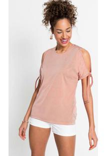 Blusa Com Ombro Vazado E Amarração Rosa Claro
