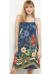 Vestido Mercatto Alcinha Estampa Tropical - Feminino-Azul Escuro