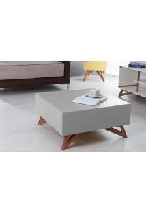 Mesa De Centro Quadrada Colorida Cinza 70X70 Design Moderno E Retrô Freddie - 70,6X70,6X33,7 Cm