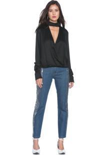 Calça Jeans Feminina Reta Metallic