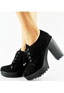 Sapato Oxford Salto Alto Tratorado Feminino - Feminino-Preto