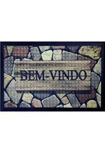 Capacho Fenice Estampado Colorful Bella Casa 70Cmx40Cm Marrom