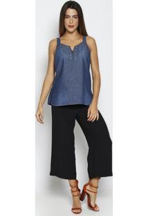 Regata Jeans Com Ilhoses - Azul Escuro & Prateada - Thipton