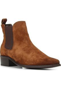 Bota Chelsea Shoestock Camurção Salto Baixo Feminina - Feminino-Caramelo
