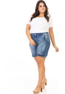 Shorts Jeans Feminino Meia Coxa Plus Size - Tricae