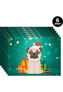 Jogo Americano Mdecore Dog Noel 40X28Cm Verde 6Pçs