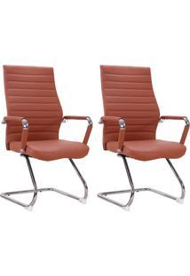 Conjunto Com 2 Cadeiras De Escritório Interlocutor Cleaner Marrom