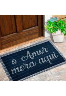 Capacho Carpet O Amor Mora Aqui Azul