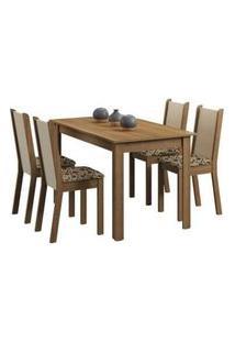 Conjunto Sala De Jantar Madesa Bea Mesa Tampo De Madeira Com 4 Cadeiras Rustic/Crema/Bege Marrom Rustic/Crema/Bege Marrom