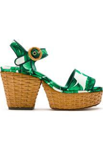 Dolce & Gabbana Sandália Plataforma Estampada - Verde