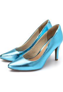 Sapato Scarpin Salto Alto Fino Em Azul Serenity Metalizado