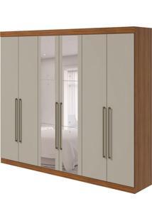 Guarda-Roupa Casal Com Espelho Castellaro 6 Pt 6 Gv Rovere E Off White