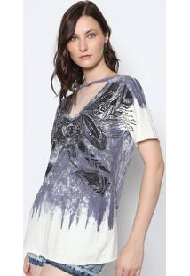 Camiseta Estonada Com Recorte Vazado- Roxa & Off Whitedimy