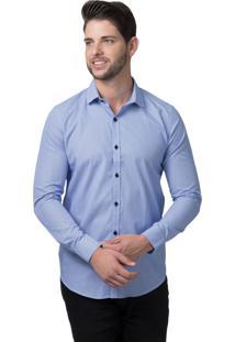 Camisa Alfaiataria Burguesia Azul E Branca Com Riscas Fina