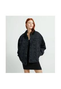 Jaqueta Alongada Jeans Com Forro E Gola De Pelinhos | Blue Steel | Preto | G