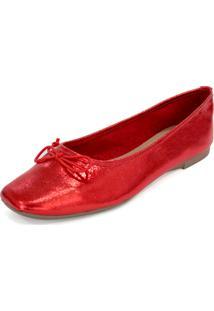 Sapatilha Couro Dali Shoes Bailarina Vermelho
