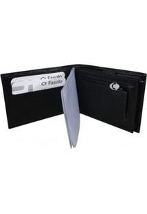 Carteira Masculina Couro Fasolo Com Porta-Cheques H013 Preta