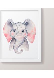Quadro Decorativo Elefante Menino Moldura Branca