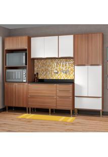 Cozinha Compacta Com Tampo 13 Portas 5452 Nogueira/Branco - Multimóveis