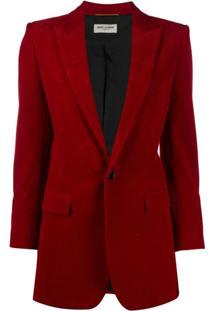 Saint Laurent Blazer Com Abotoamento Simples De Veludo Cotelê - Vermelho
