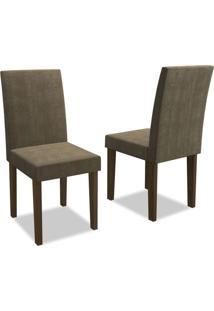 Kit Com 2 Cadeiras Estofadas Giovana Castanho/Suede Animale Cinza - New Ceval