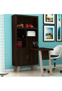 Estante Com Mesa Para Computador Me4125 - Tecno Mobili - Tabaco / Fendi