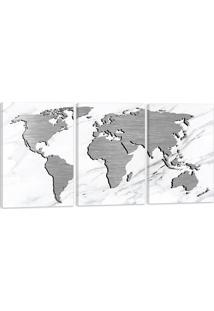 Quadro Mapa Mundi Escovado Cinza 60X120Cm Decoração Escritórios Salas Empresas Oppen House