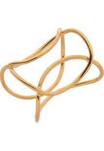 Anel Folheado A Ouro Linhas Retorcidas- Dourado- Regisabela Borgonian