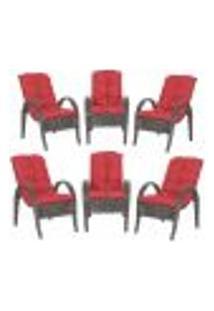 Cadeiras 6Un P/ Jardim Lazer Edicula Varanda Descanso Fibra E Tramas Napoli Plus Tabaco A16