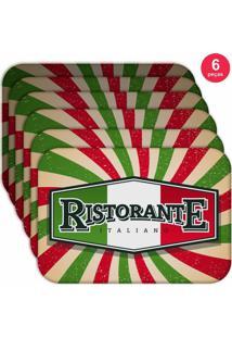 Jogo Americano Love Decor Wevans Restaurante Italiano Kit Com 6 Pçs
