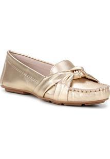 Mocassim Couro Shoestock Comfy Nó Feminino - Feminino-Dourado