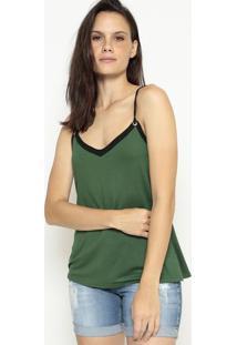 Blusa Lisa Com Recorte - Verde Militar & Pretamalwee