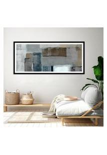 Quadro Com Moldura Chanfrada Abstrato Cinza E Bege 60X130