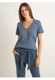 Blusa Le Lis Blanc Tess Iii Malha Azul Feminina (Azul Medio Cosmos, M)