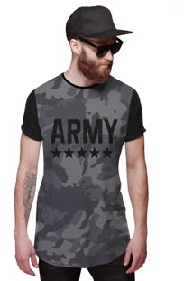Camiseta Di Nuevo Longline Exército Grafite Army Camuflada Brasileira Preta