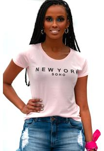 Camiseta Miss Glamour Store New York Rosa - Kanui