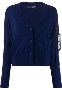 Love Moschino Wave-Embellished Cardigan - Azul