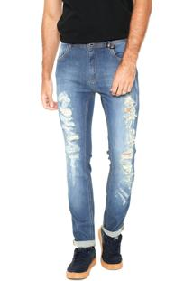 Calça Jeans Coca-Cola Jeans Skinny Desgastes Azul