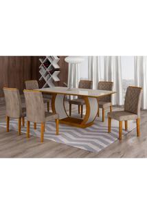 Conjunto De Mesa De Jantar Com 6 Cadeiras Maia I Suede Animalle Imbuia E Chocolate