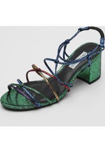 Sandália Couro Cecconello Glitter Verde/Azul