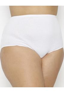 Calcinha Hot Pants Canelada Plus Size- Branca- Hopehope