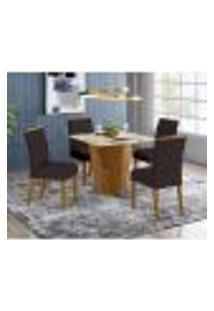 Mesa De Jantar Vértice 90Cm 4 Cadeiras Vita - Nature/Off White/Marrom