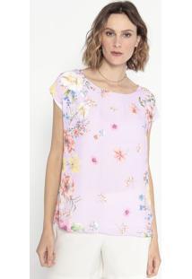 Blusa Floral Com Fendas- Rosa & Verde- Cotton Colorscotton Colors Extra
