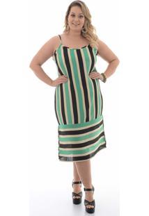 Vestido Domenica Solazzo Tricolor Listras Plus Size