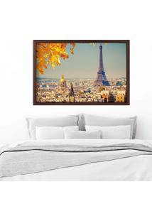Quadro Love Decor Com Moldura Outono Em Paris Madeira Escura Médio