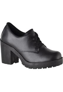 Sapato Oxford Cr Shoes Tratorado Feminino - Feminino-Preto
