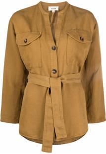 Diega Collarless Tie-Waist Jacket - Marrom