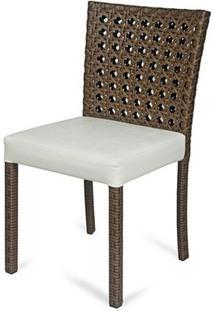 Cadeira Fontana Revestida Em Fibra Sintetica E Assento Cor Branco Com Base Aluminio - 44540 - Sun House